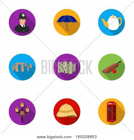England country set icons in flat design. Big collection of England country vector symbol stock illustration.