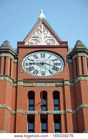 Clock tower on Jefferson County Courthouse in Port Townsend Washington USA