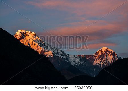 Mountains range in the evening with beautiful color of clouds Himalayas in Nepal