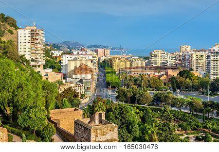View of Malaga with bullring Plaza de Toros de la Malagueta - Spain, Andalusia