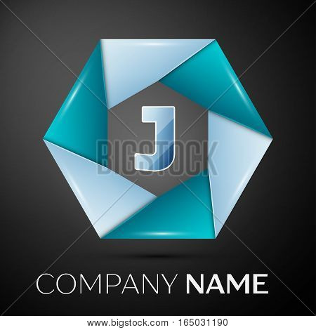 Letter J vector logo symbol in the colorful circle on black background. Vector template for your design