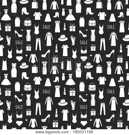 Vector seamless pattern of ladieswear and accessories