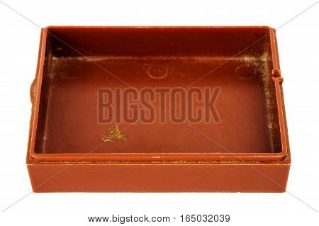 Old grungy brown plastic box isolated on white background
