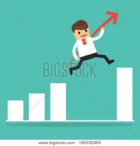 Businessman Jump Through The Gap In Growth Chart. Business Concept .