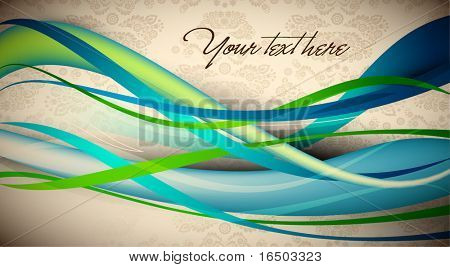 Intensive Colorful Waves | EPS10 Editable Vector Card | Seamless Flourish Damask in Background