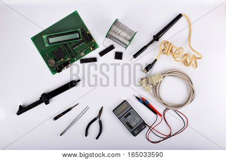 Mock up objects such as industrial controllers on a white background with copy space top view