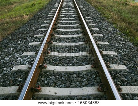 The length of the railway track. Thailand.