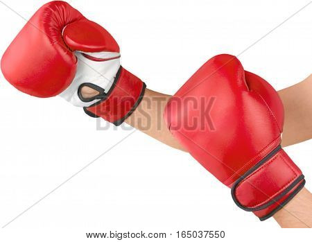 A pair of boxing gloves on hands, Isolated on Transparent Background