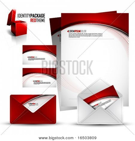Identity Kit | Red Package | EPS10 Compatibility needed | All elements are on separate layers named accordingly