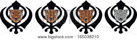Khanda is the most significant symbol of Sikhism, adorned with a tiger - orange, tabby, black and white, transparent on white background, isolated, vector