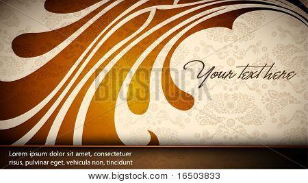 Elegant Floral Card - Damask Vector Texture