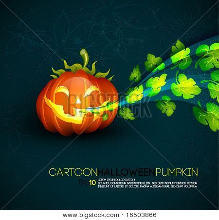 Funny Halloween Pumpkin with Spreading Leafs | EPS10 Compatibility Needed | Objects Separated on layers named accordingly