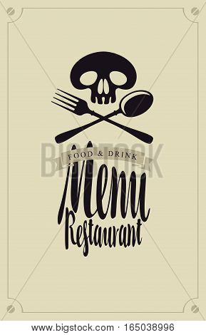 menus for restaurants with a human skull and cutlery