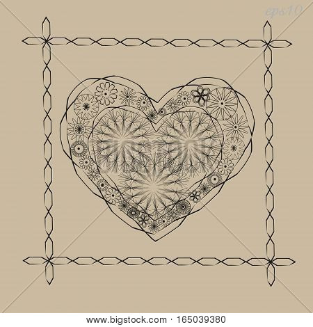 Valentine heart ornament Abstract frame two handmade flower pattern contour line black background beige ethnic style painting stock vector eps10 illustration design author