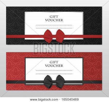 Modern gift voucher template set with floral pattern and beautiful bow. Gift coupon, card, invitation, certificate, ticket etc. Vector EPS10 illustration.