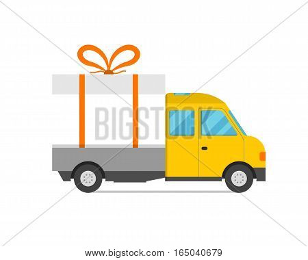 Delivery transport cargo logistic vector illustration. Commercial highway industrial city gift box truck. Fast shipment distribution export courier car.