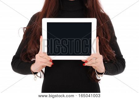 Teenage girl showing a blank horisontal tablet screen isolated on white
