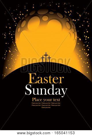 vector banner for easter with Calvary and crosses against the backdrop of the moon