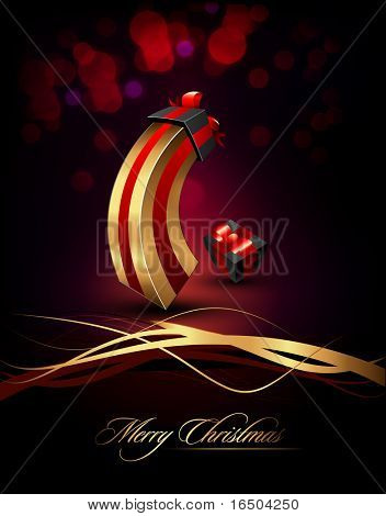 Large and Small Gifts | Present | Elegant Vertical Christmas Card | EPS10 Vector Background | Separated on Layers Named Accordingly