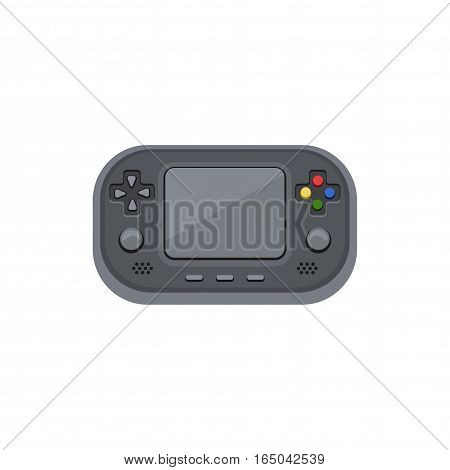Handheld game console. Electronic game with the screen, buttons, adjustment slider. Cartoon vector icon.