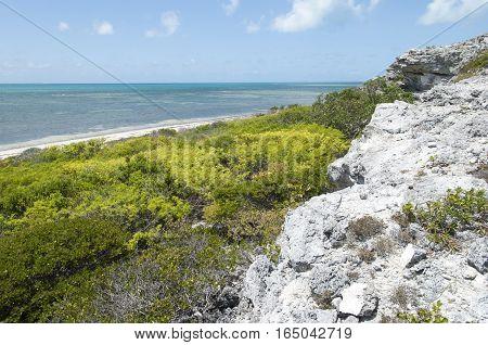 The beach coastline on Grand Turk island (Turks & Caicos).