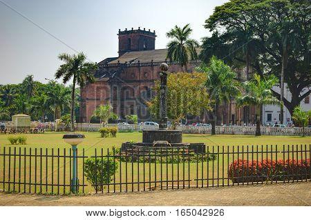 Famous landmark - Basilica of Bom Jesus Borea Jezuchi Bajilika in Old Goa India. Basilica is a UNESCO World Heritage Site.