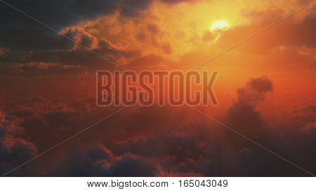 3d illustration dramatic impressive view from heaven with bright sun and clouds