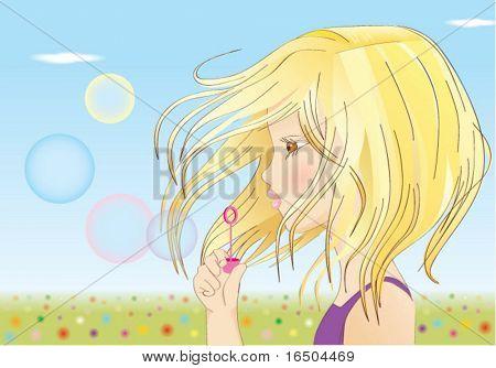 girl blows balloons