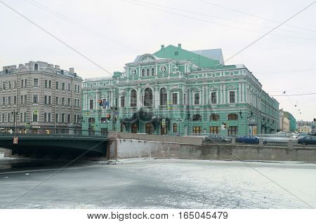 12.01.2017.Russia.Saint-Petersburg.The building of the Bolshoi drama theatre on the promenade.