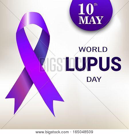 World Lupus Day. Purple Ribbon. Vector illustration