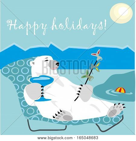 Happy holidays card with polar bear with coctail and kebab fish