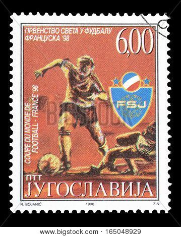YUGOSLAVIA - CIRCA 1998 : Cancelled postage stamp printed by Yugoslavia, that shows Football.
