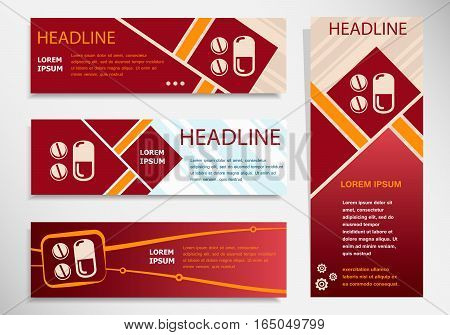 Pill Icon  On Vector Website Headers, Business Success Concept