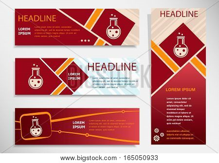 Glass Bulb Icon On Vector Website Headers, Business Success Concept