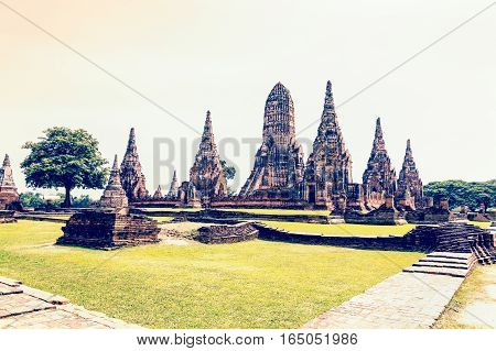 Vintage style Wat Chaiwatthanaram is ancient buddhist temple famous and major tourist attraction religious of Ayutthaya Historical Park in Phra Nakhon Si Ayutthaya Province Thailand