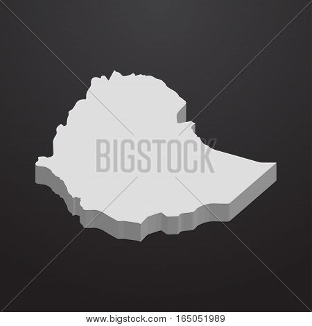 Ethiopia map in gray on a black background 3d