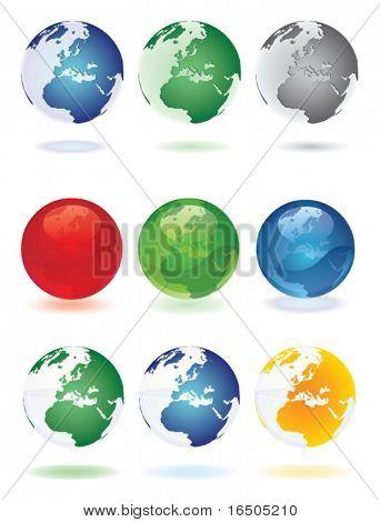 vector set of globe
