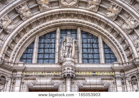 London, UK - March 20, 2016: Front entrance of the Vicotria and Albert Museum in Sourh Kensington London UK