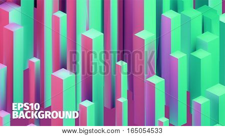 Abstract isometric boxes 3d background. Vector cubes pattern. Contrast illustration for web or printing