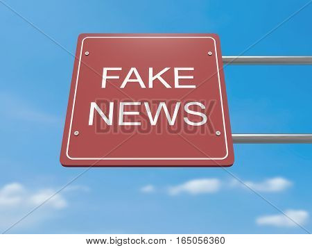 Red Road Sign Fake News Against A Cloudy Sky 3d illustration
