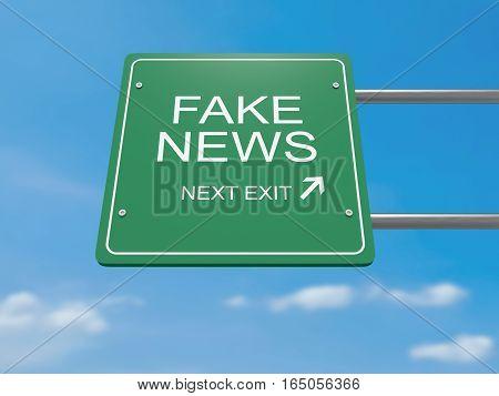 Next Exit: Fake News Road Sign 3d illustration