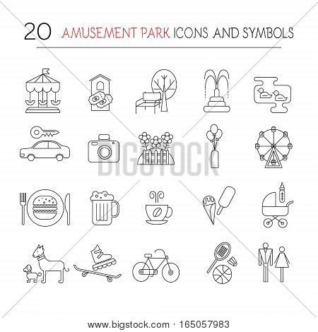 Outdoor park vector elements isolated. Set of playground objects.
