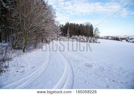 Winter Landscape with village / Sichertshausen (Germany)