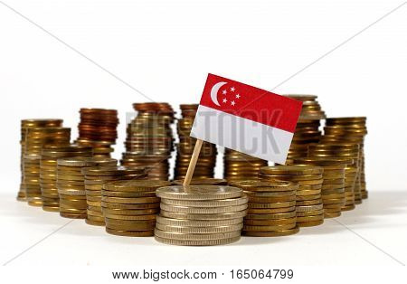 Singapore Flag Waving With Stack Of Money Coins