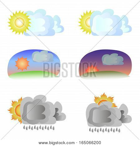 Six variants of weather - sun and clouds. Cloudy day, evening, sunset, rain