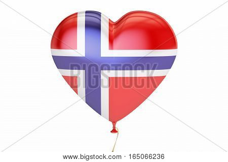 balloon with Norway flag in the shape of heart 3D rendering