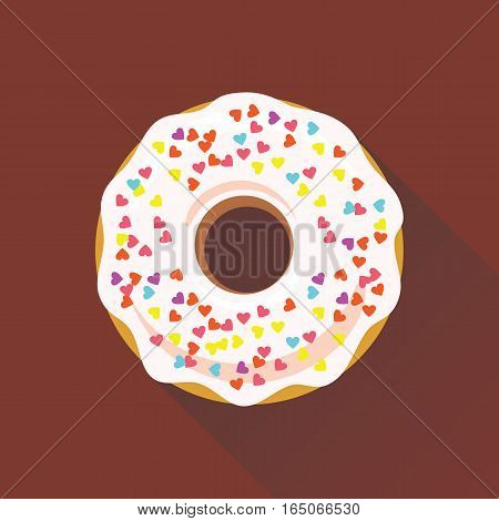 Donut flat style icon. Sweet sugar icing donut in the glaze with sprinkle topping of colorful hearts on white cream. Isolated eps8 vector illustration.