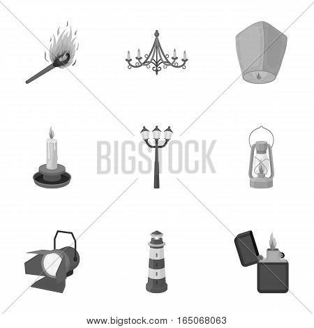 Light source set icons in monochrome style. Big collection of light source vector symbol stock