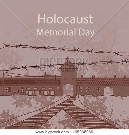 Holocaust Memorial Day. Entrance gate to Auschwitz Birkenau. Vector illustration