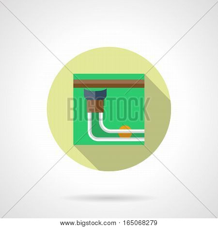 Abstract image of billiard table side pocket with single yellow ball. Good shot concept. Scoring of pool game, snooker and others. Round flat design vector icon.
